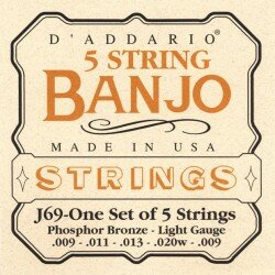 D'Addario J69 5-String Light Banjo Strings